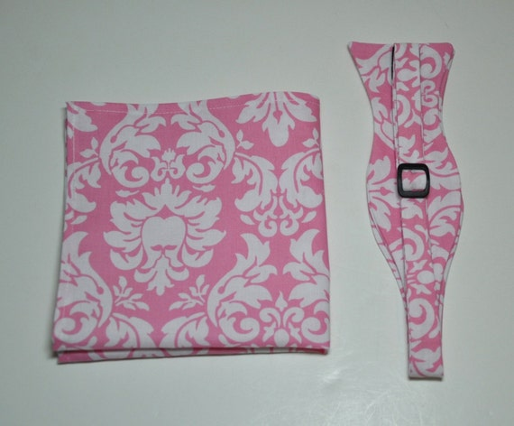 Men's Bow Tie Pink and White Damask Bowtie