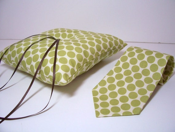 Modern Wedding Ring Bearer Pillow and Necktie or Bow Tie