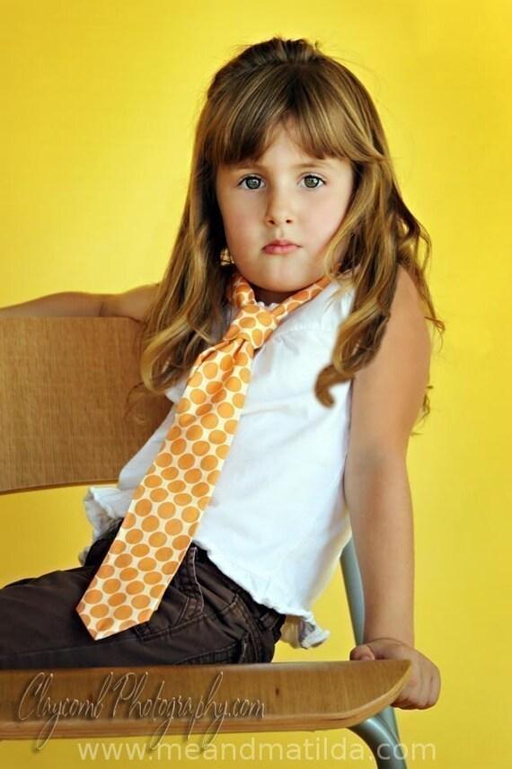 Tangerine Big Dot Necktie for Boys or Men