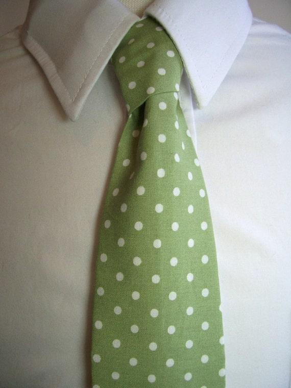 Sage Green Polka Dot Necktie For Men Or For Kids