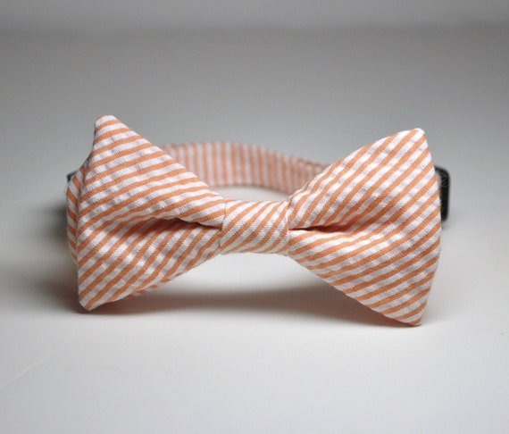 Bowtie for Little Boys Creamsicle Coral Seersucker LOTS of COLORS AVAILABLE