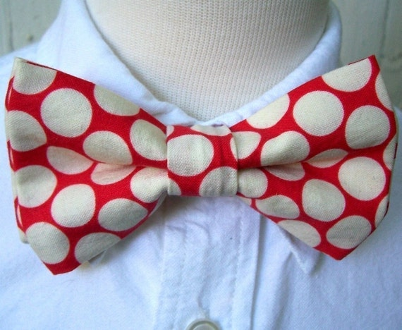 Bowtie Bow Tie for Boys As Seen In MARTHA STEWART WEDDINGS  Cherry Red Big Dot