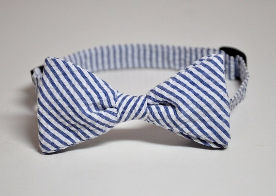 Bowtie for Little Boys Navy Seersucker Stripes LOTS of COLORS Available