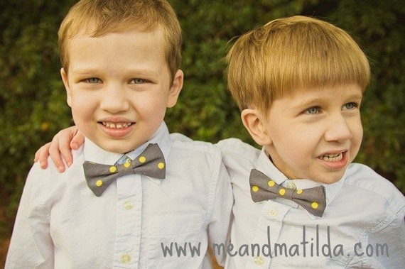 Boy's Bow Tie, Bowtie, Gray and Yellow Wedding, Ring Bear Tie, Polka Dot Bow Tie, Toddler Tie, Baby Bowtie, Yellow and Grey