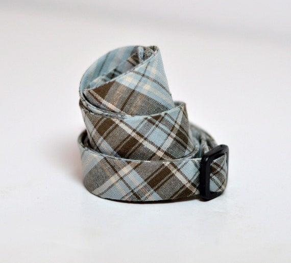Freestyle Bow Tie for Men Blue and Brown Tartan Plaid