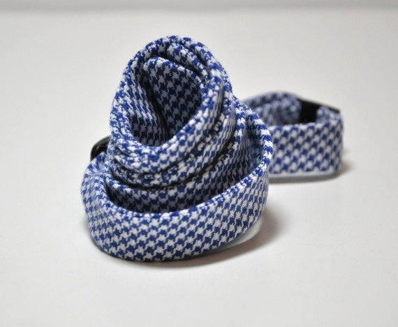 Freestyle Bow Tie for Men Royal Blue Houndstooth