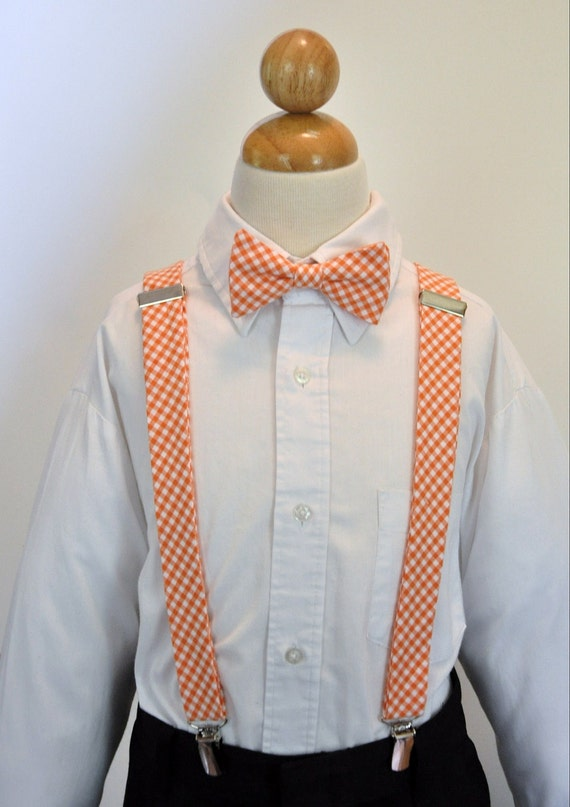 Boys Bowtie and Suspender Set Orange Gingham LOTS of COLORS AVAILABLE