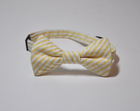 Boy's Bow Tie Yellow Seersucker Bowtie for Children