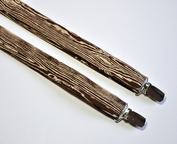 Woodgrain Suspenders for Boys or Men Coffee Brown Faux Bois
