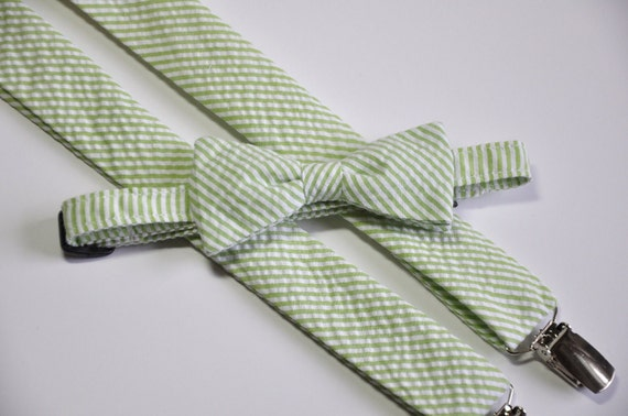 Lime Green Seersucker Bowtie and Suspender Set for Boys Todders or Babies