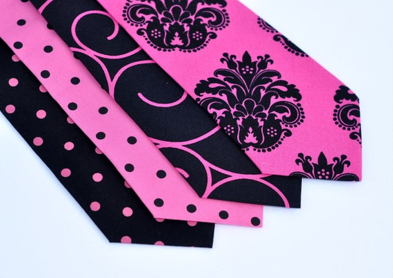 Necktie - Hot Pink and Black Ties - Men Baby Toddler or Boys Neck Ties