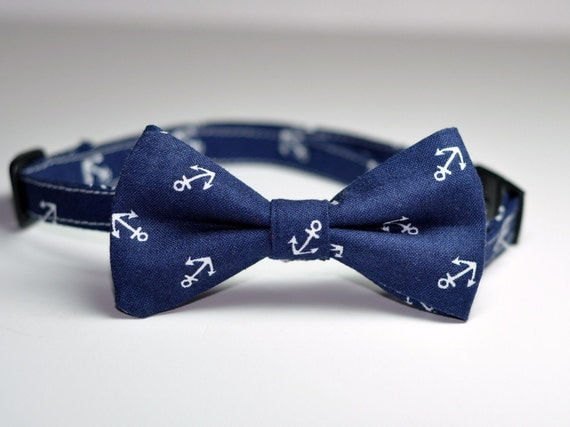 Boys Bowtie Navy Blue Anchors