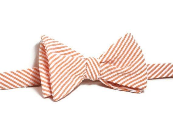 Coral Bow Tie , Men's Seersucker Bow Tie , Creamsicle Coral Seersucker Bowtie for Men