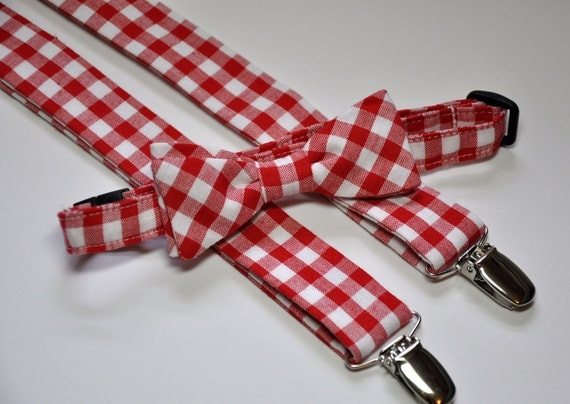 Red Gingham Bowtie and Suspender Set