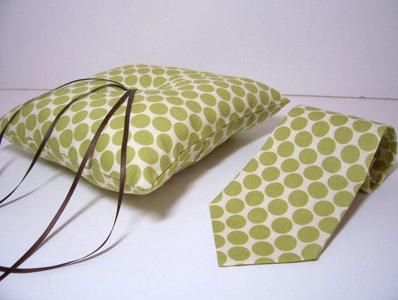 Modern Ring Pillows : Modern Wedding Ring Bearer Set Pillow and Necktie or Bow Tie