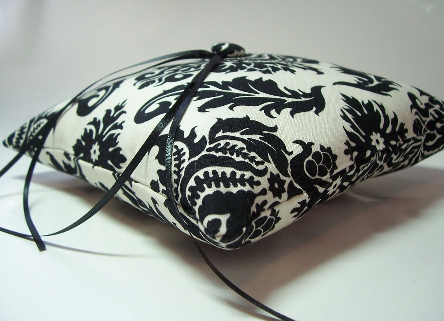 Modern Ring Pillows : Ring Pillow Black and Ivory Damask Simply Modern Ringbearer