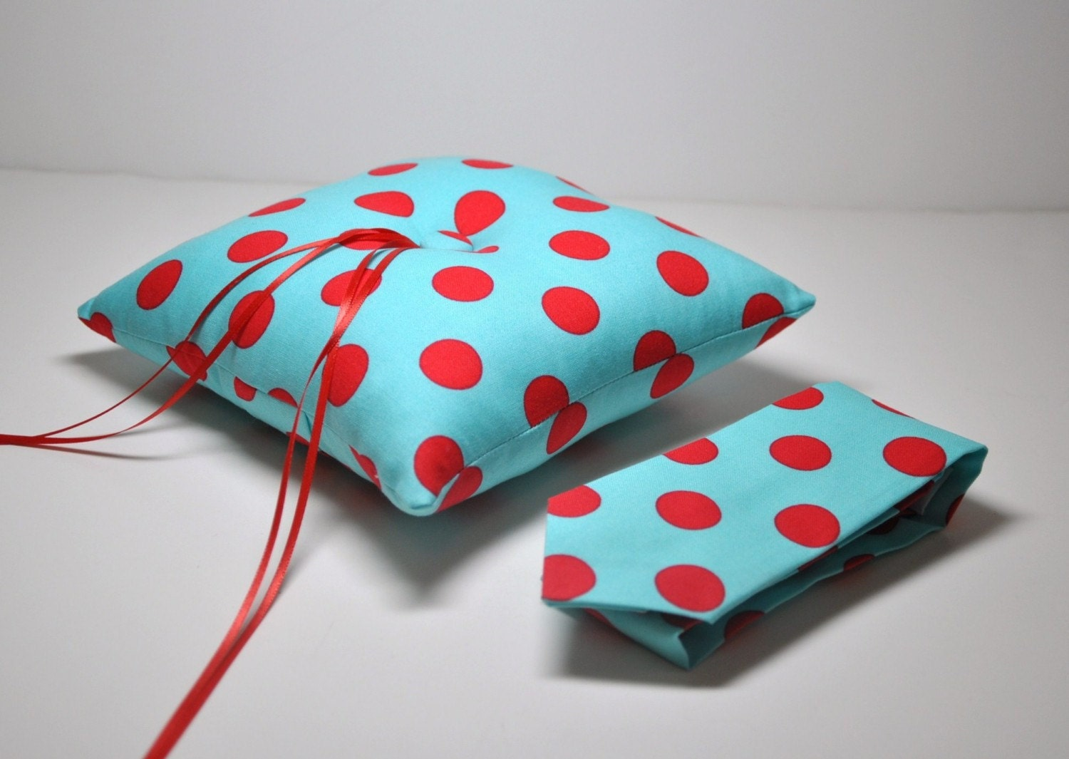 Modern Ring Pillows : Items similar to Modern Wedding Ring Bearer Set Red and Aqua Blue Dots Necktie or Bowtie and ...