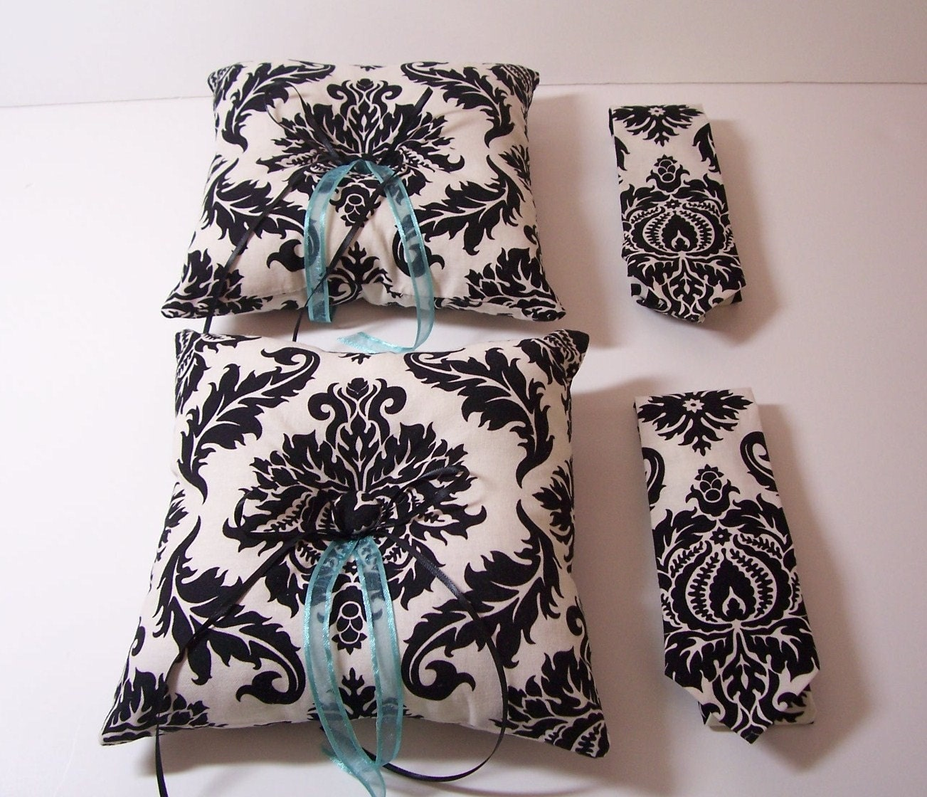 Modern Ring Pillows : Two Modern Wedding Ring Bearer Sets Neckties and Ring Pillows