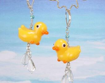 YELLOW DUCKY - Hand Lamp Worked Glass Duck Earrings - Blue Topaz Rain Drops