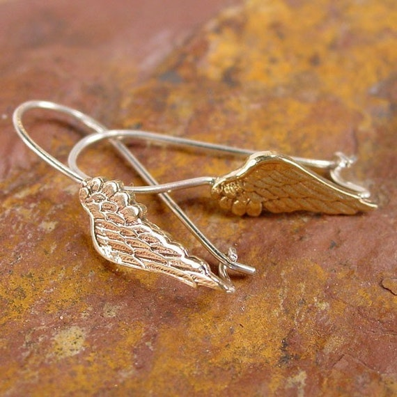 Angel Wing Earrings with Locking Ear Wires
