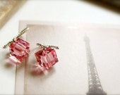 Rosy -- Valentine Earrings - Swarovski Cube Dangles, Everyday Casual Chic, Silver Earrings, Sparkle Drops, Bridesmaids Jewelry, Dangle Drops - sparklethots