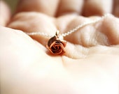 Nature's Buds -- Rose Blossoms - Rose Gold Bloom, Silver Necklace. Everyday Classics, Nature Inspired Jewelry, Romantic Pink, Casual Chic