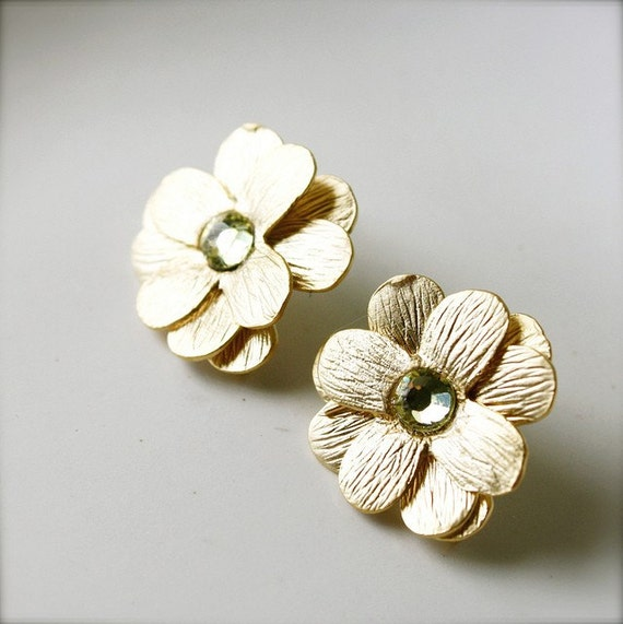 Gloria -- Swarovski Studded Floral Studs - Gold Flowers, Yellow Diamante, Swarovski, Romantic Classics, Floral Studs, Everyday Romance