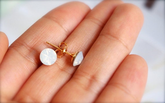 Bedazzled -- Opal Muted White - Diamante Stud, Swarovski Stud Earrings - Gold Earposts, Everyday Casual, Classic Chic, Something Classic