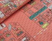 SALE Japanese textured Fabric - Streetlife, Shops, Whimsical Buildings in Peach-Orange (half yard)
