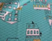 SALE Japanese Textured Fabric - Streetlife, Shops, Whimsical Buildings in green (half yard)