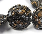 Black w/ Gold and White Specs Stone Circle Beads