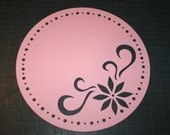 12x12 CIRCLE Pink die cut lace paper - Flowering Circle