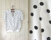 vintage 1980's dotted secretary blouse