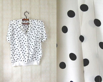 vintage 1980's dotted secretary blouse