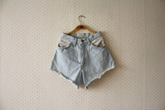 vintage 1980's boho high waisted fashionable cotton jeans shorts