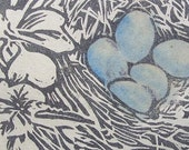 Robin's Nest - Original Linocut Print