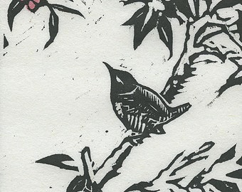 Bird in Berry Tree Study - Limited Edition Woodblock Print