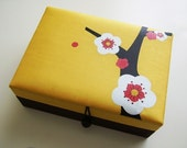 Yellow and chocolate brown Cherry blossoms jewelry box, large