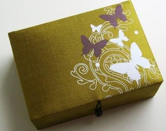 Green butterflies jewelry box, large