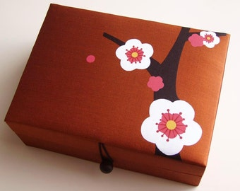 Copper Cherry blossoms jewelry box, large