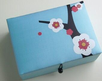 Light blue Cherry blossoms jewelry box, large