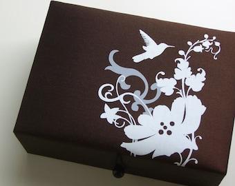 Brown bird jewelry box, large