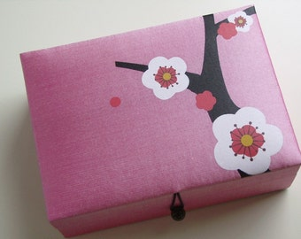 Light pink Cherry blossoms jewelry box, large