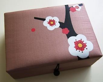 Tan Cherry blossoms jewelry box, large