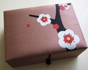 Tan Cherry blossoms jewelry box, large