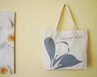Gray Plumeria flower eco bag