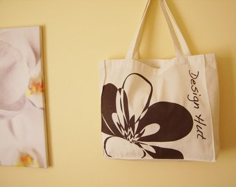 Chocolate brown flower eco bag