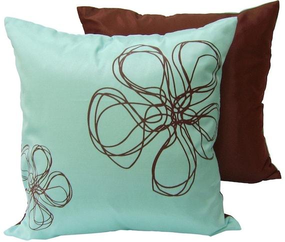 Aqua Brown Decorative Pillows : Aqua blue and brown silk pillow by designhutusa on Etsy