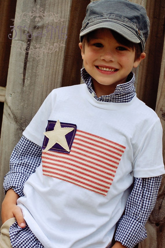 SALE - Boys 4th of July Flag Tee - Size 2