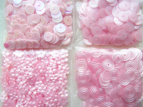 cotton candy pink sequins - variety pack